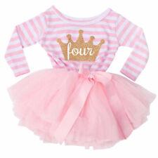 BIRTHDAY PARTY PRINCESS TUTU, Pink Stripe Long sleeve Four Gold Crown Tutu Dress