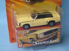 Matchbox Superfast 1969 Chevy Camaro Ss Cabrio Crema Cuerpo Modelo de juguete coche 75mm BP