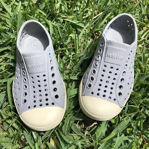 Native Jefferson Size C8 8 Toddler Water/Slip-On Shoes, Bone White & Gray