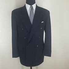 HUGO BOSS VINTAGE U.S.A. DOUBLE BREASTED WOOL SUIT NO VENTS 40 L--FIT 42-43 LONG