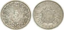 Schweiz 5 Rappen 1877, seltenes Jahr*  vorzüglich