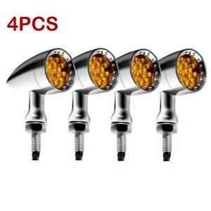 4X Chrome LED Turn Signal Blinker Light For Kawasaki Vulcan VN 500 900 1500 1600