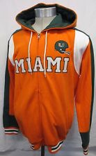 Miami Hurricanes Football Men L STARTER Full-Zip Hoodie Embroidered NCAA Orange