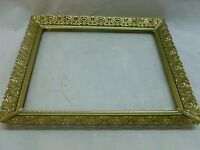 Vtg Ornate Gold Tone Metal Filigree 8 x10 Stand Alone Picture Frame