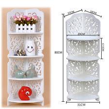 80cm White Hollow Carved Kitchen Bathroom Storage Organiser Rack Book Shelves UK