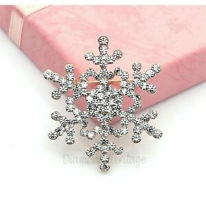 1.54ct Round Cut Diamond Christmas Snowflake Pin Brooch 14k White Gold Finish