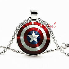 NEW Captain America  logo Tibetan silver glass chain pendant necklace T162