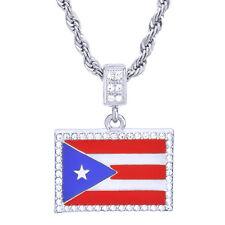 "Men's  Silver Tone Bling Puerto Rico Flag Pendant 24"" Chain Necklace HC 1046 S"