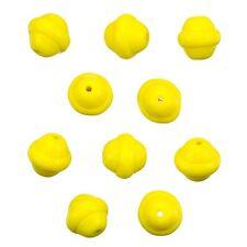 Saturn fantaisie jaune ronde perles de verre 10mm Pack de 10 (b11 / 6)