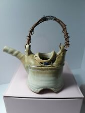 New ListingAsian Influenced Pottery Tea Pot Hand Made W/Copper and Twig Handle