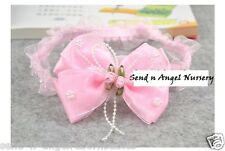 Pink BOW with pearls Lace organza Headband for Newborn or Reborn Baby