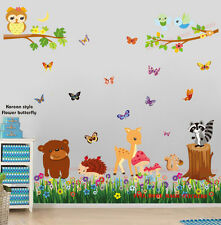 Huge Woodland Animals Butterfly Grass Wall Stickers Baby Nursery Kids Decal Art