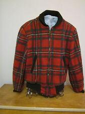 1950's wool window pane red/white/green zipper jacket