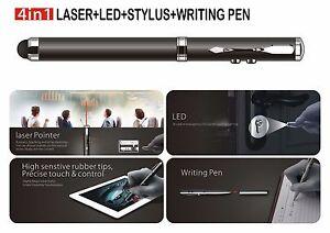 4-in-1 silver Stylus Ballpoint Pen Laser Pointer LED Light for Capacitive Touch