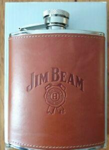 Jim Beam 6 oz Steel Leather Whiskey Flask