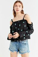 Urban Outfitters Womens Valley Cold Shoulder Blouse Medium Black