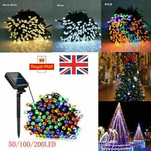 50/100/200 LED Solar Power String Fairy Lights Garden Outdoor Party Wedding Xmas