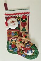 Beaded Sequin Completed Felt Christmas Stocking Santa Snowman Gingerbread Men