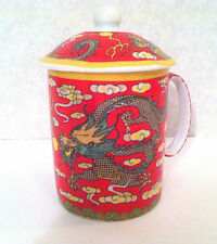 Chinese Porcelain Tea Cup Coffee Mug with Lid in Dragon Graphic design Red Color