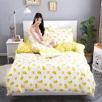 Single/Double/Queen/King Size Bed Quilt/Doona/Duvet Cover Set Lemon Yellow