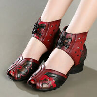 womens ladies retro floral open toe pumps dress shoes size 4.5-8.5 black or red