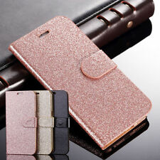 Handy Tasche Bling Glitzer Wallet Leder Schutz Hülle Bumper für iPhone Samsung