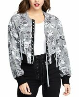 Rachel Roy Jacket Bomber Baldwin Floral Women Gray Sz XL NEW NWT 295