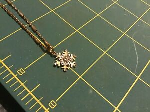 ROSS SIMON GOLD OVER STERLING SILVER AND DIAMONDS SNOWFLAKE PENDANT