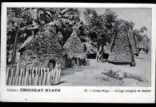 MUPELE (CONGO BELGE) VILLAGE animé 1900 / Carte postale Publicité CHOCOLAT KLAUS