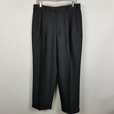 Zanella Duncan Pleated Cuffed Dark Charcoal Gray Mens Dress Pants Size 33x29