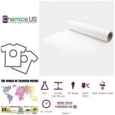 "CHEMICA White 12""x20Yds (60') Iron on Heat Transfer Vinyl Roll SHIP FREE"