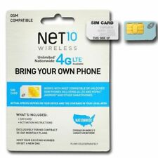 Net10 4G Lte Sim Card - At&T Network! Unlimited plans! (Regular,Micro and Nano)