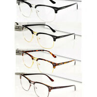 Fashion Hipster Retro Classic Semi-Rimless glasses Clear Lens Nerd Geek Eyewear
