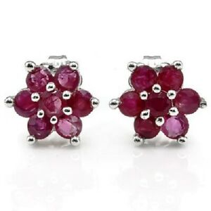 Natural 1.40 ct Genuine Red Ruby 10K Solid White Gold Stud Earrings
