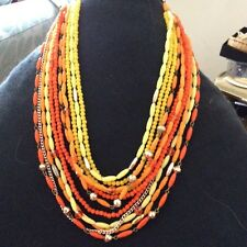 Beautiful Vintage Multi-Strand Chain Plastic Bead Necklace Signed Germany