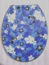 Loo with a View - Blue Flowers Poly Resin Decor Toilet Seat, EU111