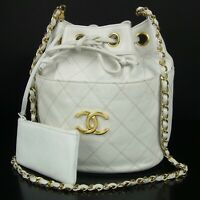 Auth CHANEL Vintage Bicolore Quilted Leather Chain Shoulder Bag 16921bkac