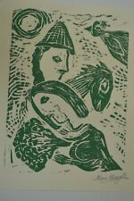 """Marc Chagall Hand Signed """" Couple and Horse """" Original 8x11 Linocut with COA"""