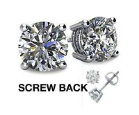 1/2 CT Lab Created Diamond 14K White Gold Round Cut Stud Earrings