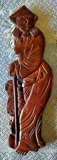 """Vintage Wooden Carved  Asian Woman in native costume 14"""" Wall Hanging Decor"""