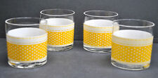 (4) Vintage Georges Briard Yellow With White Polka Dot Double Old Fashion Bar