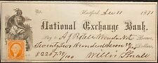 1871  NATIONAL EXCHANGE BANK HARTFORD, CT. {VIGNETTE} BANK CHECK+SC# R15c STAMP!