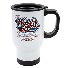 The Worlds Best Environmental Manager Thermal Eco Travel Mug - White Stainless S