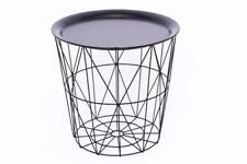 Round Modern Retro Black Metal Wire Basket Storage Coffee Side Table Tray Top
