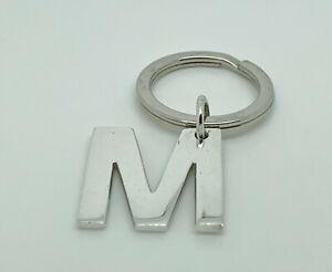 Superb English Solid Sterling Silver Letter/Initial M Keyring - Full Hallmark