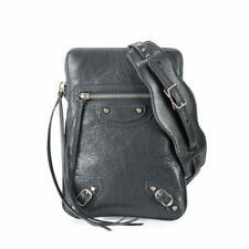 BALENCIAGA Arena Leather Mini Shoulder Bag Neck Pouch in Gris Fossile