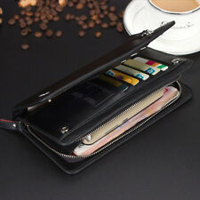 Business Men's Leather Clutch Wallet Handbag Long Purse Zipper Card Holder Bag