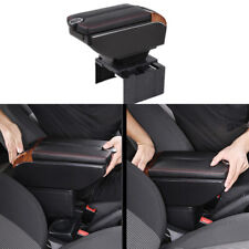 7-USB Charging Car Part Dual Opening Armrest Box Central Console Storage Black