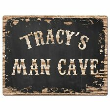 PP3025 TRACY'S MAN CAVE Plate Chic Sign Home Room Garage Decor Birthday Gift