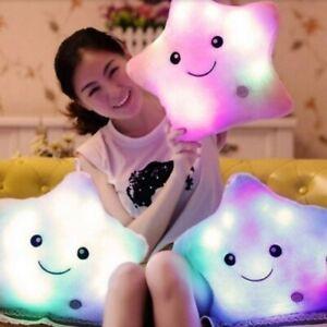 LED Luminous Light Up Pillow Smile Star Waist Cushion Glow Plush Throw Pillows